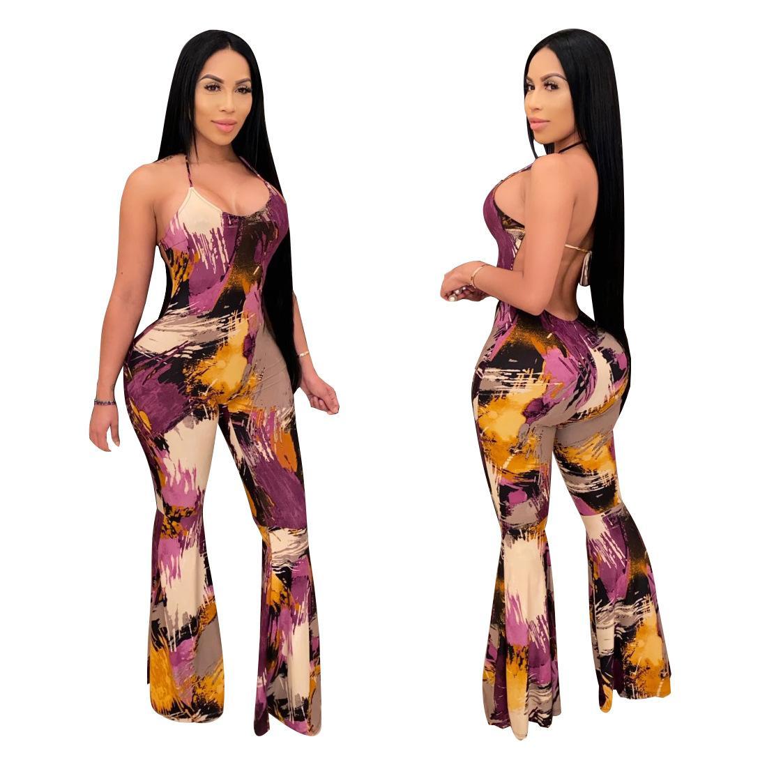 Dame Sexy Nightclub Jumpsuits Bezaubernd Frauen Halter Lace-up Sleeveless Backless Dünne Krawatte-Farbstoff-Druckfarbe-Strampler