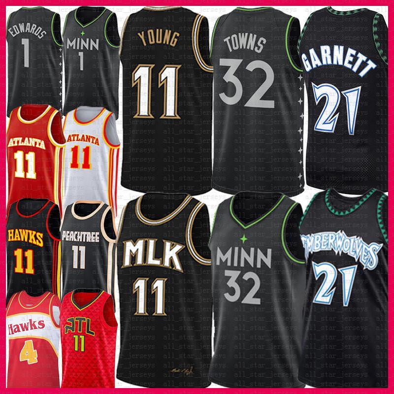 "Trae 11 Genç Basketbol Jersey Karl-Anthony 32 Kasaba Anthony 1 Edwards Kevin 21 Garnett Spud 4 Webb Minnesota ""Timberwolves"" Atlanta ""Şahin"" Mens"