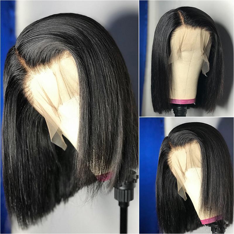 Dantel Peruk Kısa T Bölüm Bob Peruk 13x6x1 Frontal İnsan Saç Pre-Plucked Funky Kız Brezilyalı Remy Düz Kadınlar için