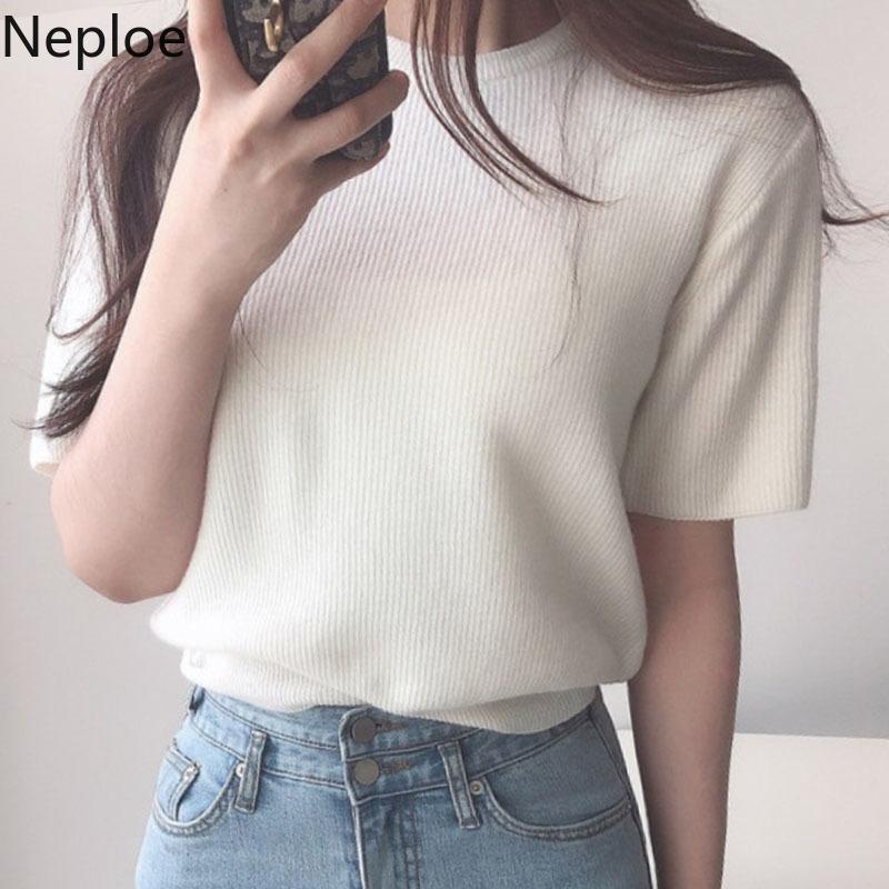 Yaz Kadın T Gömlek Örme Gevşek Rahat Kazaklar Tops Moda Vahşi O Boyun Kore Katı Ince Bayanlar Tees 210422