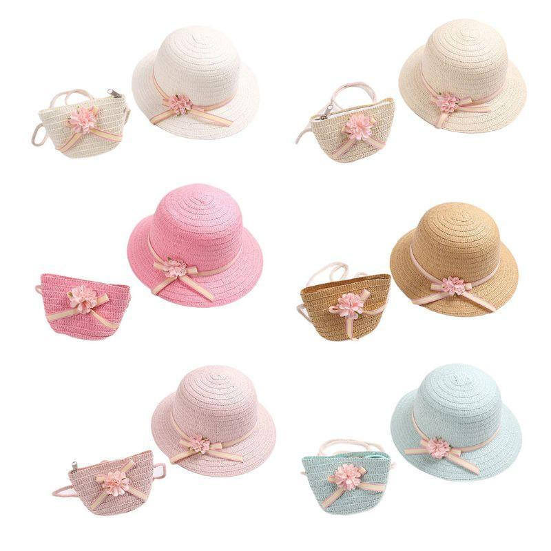 아기 소녀 짚 태양 바이저 모자 지퍼 어깨 가방 꽃 바구니 해변 모자 모자
