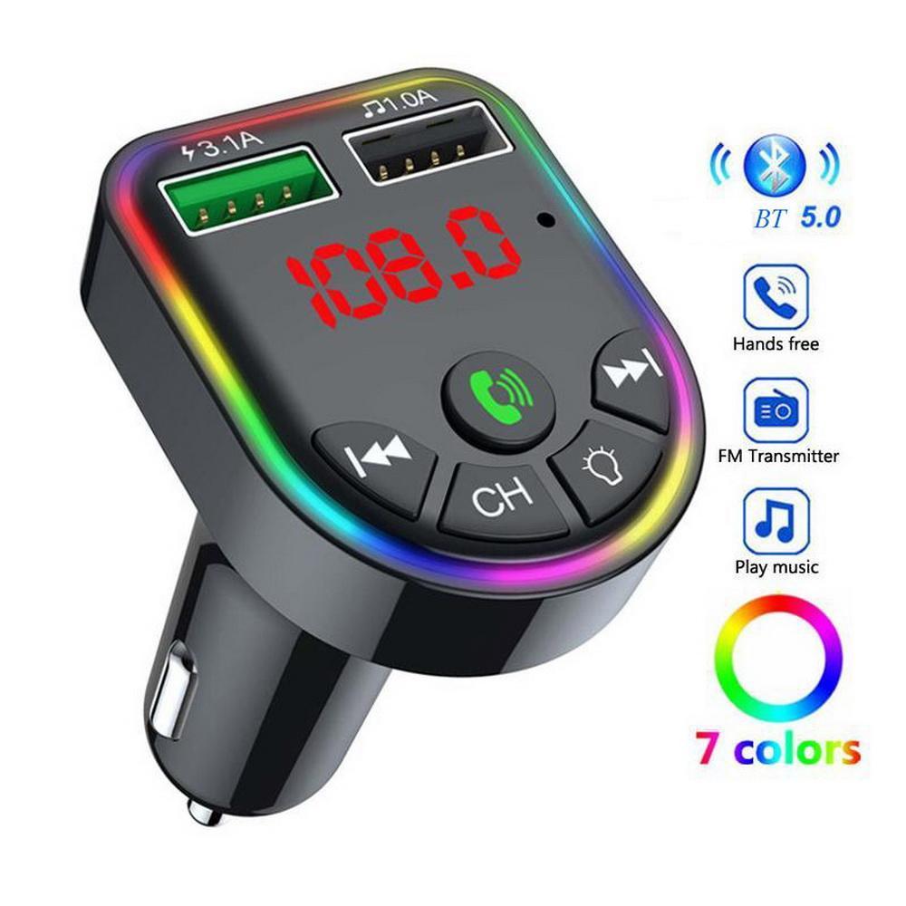 12 ~ 24V Bluetooth سيارة بلوتوث كيت FM راديو الارسال ناحية مجانية مشغل mp3 دعم USB / TF بطاقة بطاقة وشاحن سريع مع منفذ شحن USB المزدوج