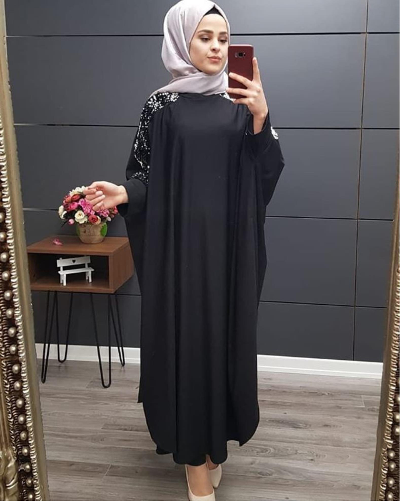 Plus größe islamische frauen kleider casual kleidung muslim kleid frauen dubai türkisch lang robe kimono pailletten ethnische stil sieben punkt