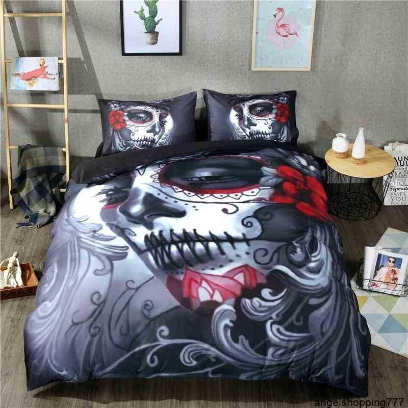 Fashion 3d Beauty Skull Digital Printing 100% Polyester Duvet Sets 1 Quilt Cover + 1/2 Pillowcases US/EU Size