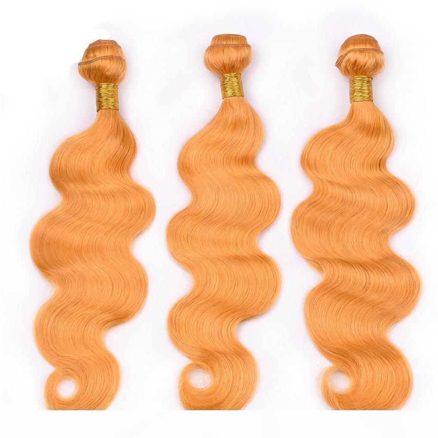 Paquetes de pelo humano naranja con cierre frontal Virgin Malassian Virgin Hair Extensions Anaranjado Paquete de cabello 3pcs Ofertas de encaje frontal