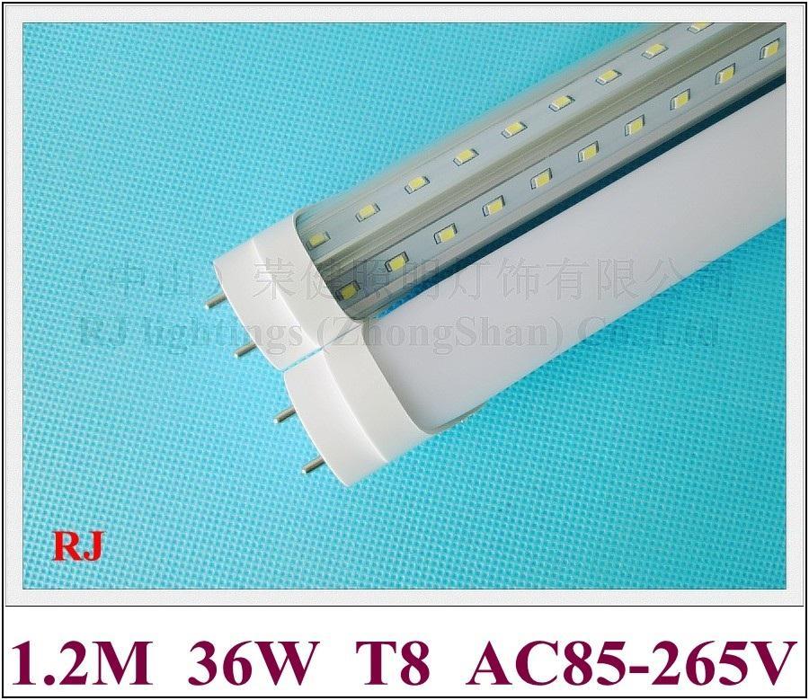 V Form G13 T8 LED-rörluorescerande LED-rörlampa 2 rad 1200mm SMD2835 192 LED (2 * 96LED) 36W 270 ° strålvinkel Aluminium + PC Super Ljus energibesparing