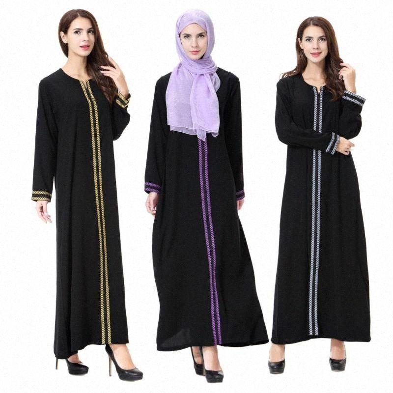 Artı Boyutu (XXXL Yüksek Kalite Siyah Abaya Müslüman Elbise Kadınlar için Hırka Elbiseler Arap Kaftan Abaya İslam Giyim Yetişkin Elbise 83lx #