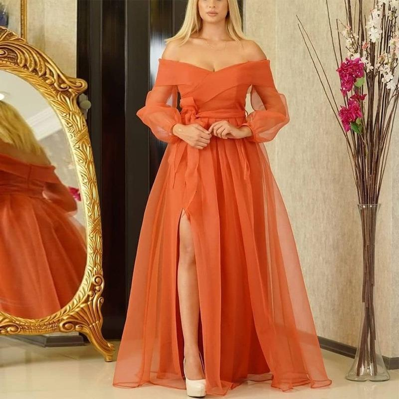 Slash Neck Women Elegant Dresses Plus Size Long Sleeve Slit Orange Mesh Birthday Evening Party Robe XXL with Waist Belt New