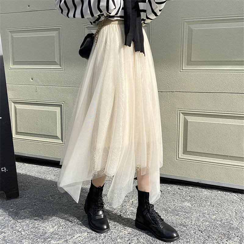 Katı Düzensiz Nazik Vintage Kızlar Kısa Moda Peri Mesh Elastik-Bel İnce A-Line Tüm Maç Uzun Etekler 210416