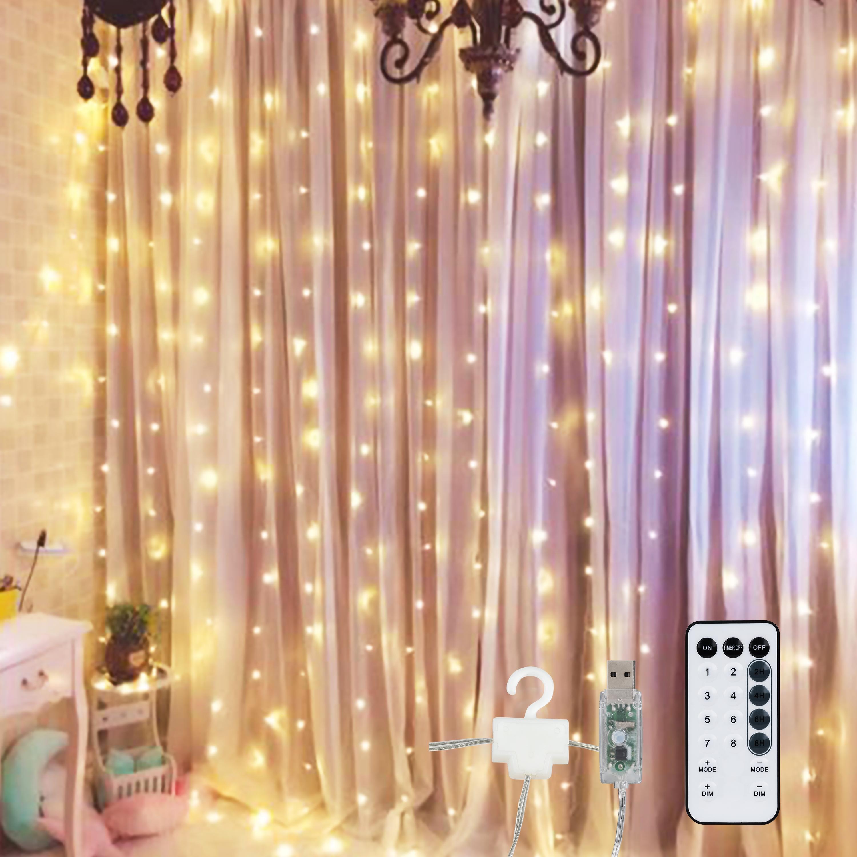 Girealo yıldızlı pencere perde şerit ışık 300 led 8 aydınlatma modları USB Powered uzaktan kumanda yatak odası ev-parti duvar süslemeleri için - sıcak beyaz