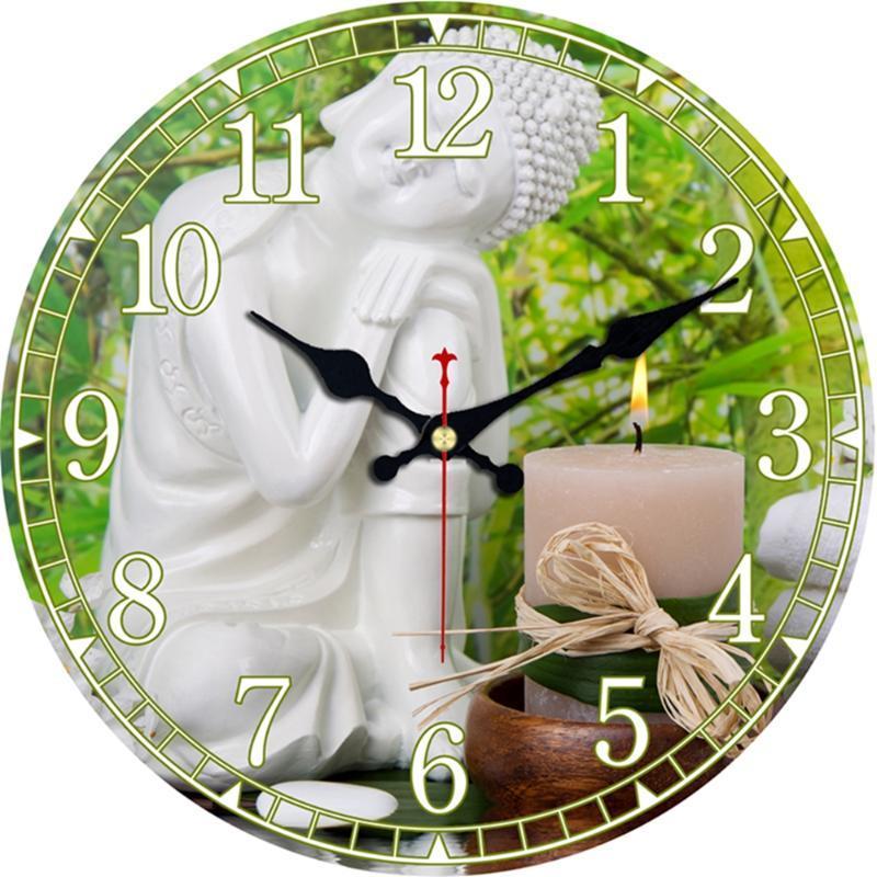 Wanduhren Yoga Spa Bath Decor Clock Religiöse Weiße Buddha Meditation auf Bambus Holz Runde Uhren Große arabische Ziffern Easy Lesen