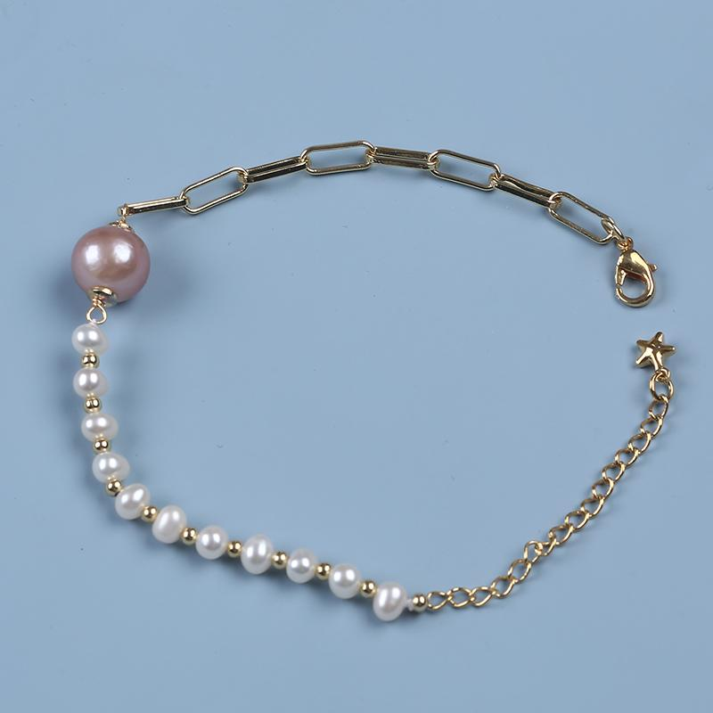 Real Natural Cultured Freshwater Pearl White Pink Bracelet Copper Chain Adjustable Women's Gift Jewelry Star Link