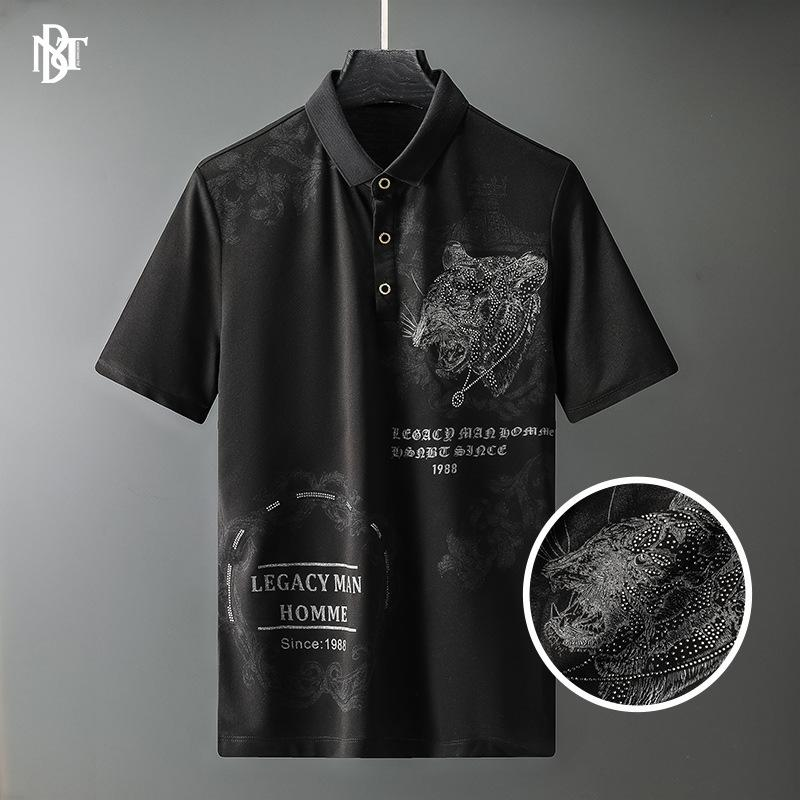 Erkek T-Shirt Huashang Giyim - 2021 Yaz Polo Gömlek Avrupa Kaplan Desen Baskı Matkap Yaka Kısa SVE T-shirt