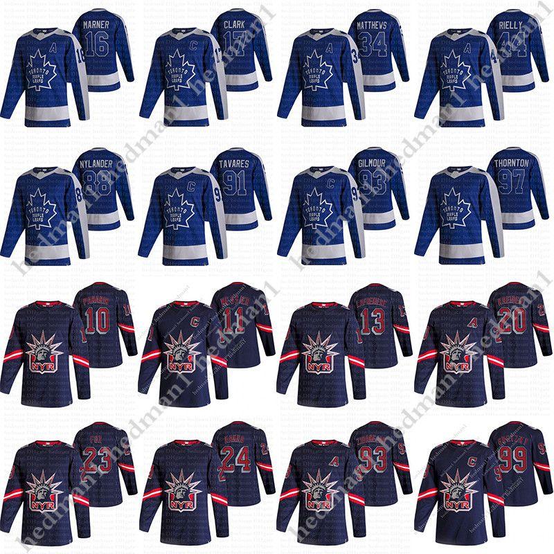 2021 Jerseys de Hóquei Retro Reverse 91 John Tavares 34 Auston Matthews 16 Mitchell Marner 10 Artemi Panarin 13 Alexis Lafeniere 99 Gretzky