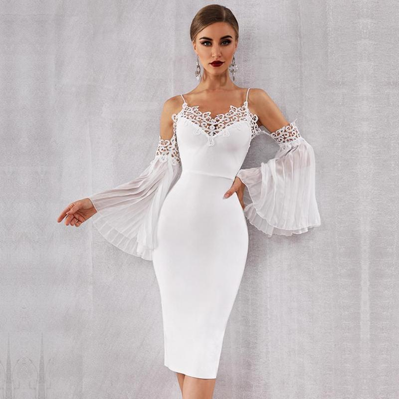 Est Summer Celebrity Party Bandage Dress Women White Off The Shoulder Flare Sleeve Sexy NightClub Lace Vestidos Casual Dresses