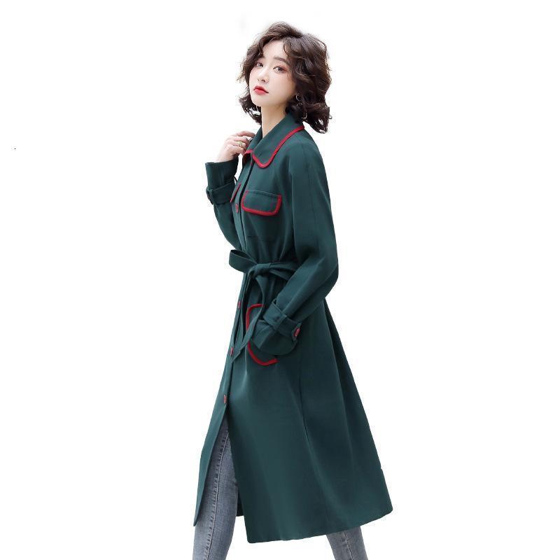 단단한 컬러 느슨한 여성의 윈드 브레이커 미드 길이 옷깃 싱글 브레스트 영국 스타일 명암 숙녀 패션 자켓 T31 트렌치 코트