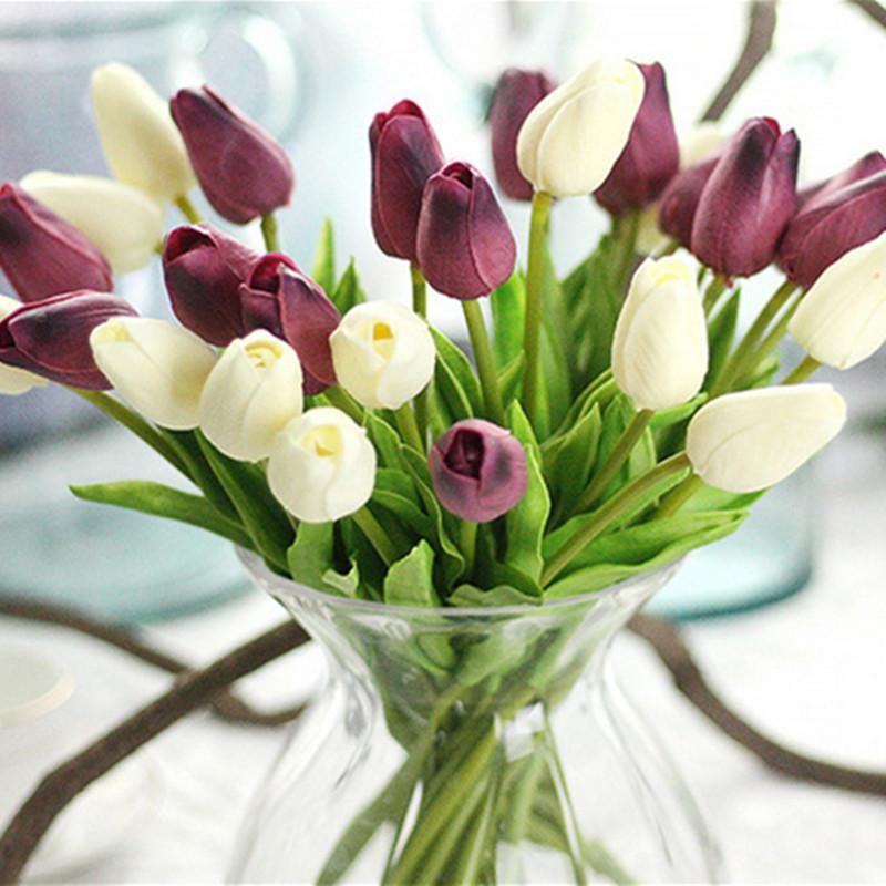 2021 20 Colors White Tulips Artificial Flowers PU Real Touch Artificial Bouquet Fake Flowers for Wedding Decoration Home Garen Decoration