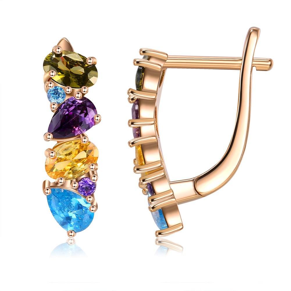 SKMEI 2021 Women Earrings Fashion Four Color Zircon Arrangement Studs Party Ladies Jewelry Orecchini Donna KZCE286
