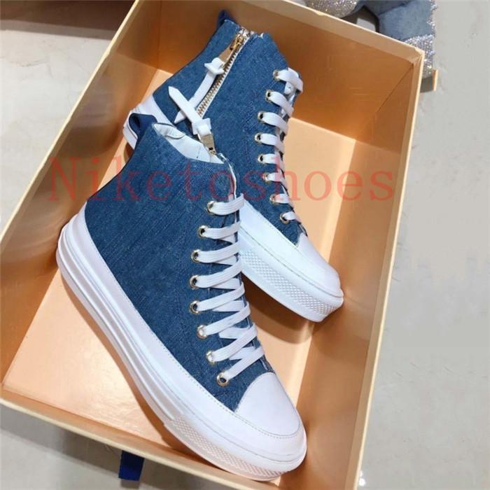 Stellar Женщины Bleu Bleu Jeans Blue Denim Высокая Верхняя Повседневная Обувь Боковая Zip Резина Подошва Холст Люксы Дизайнер Кроссовщик Тренер