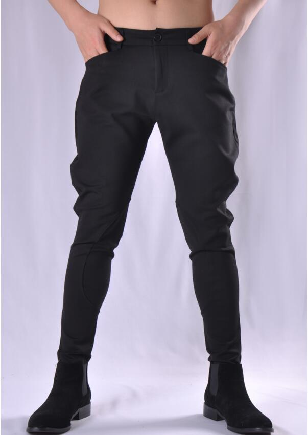 Men's Pants Winter Thick Hair Stylist Personality Slim Breeches Tide Brand Casual Feet Harem Stretch S-3XL