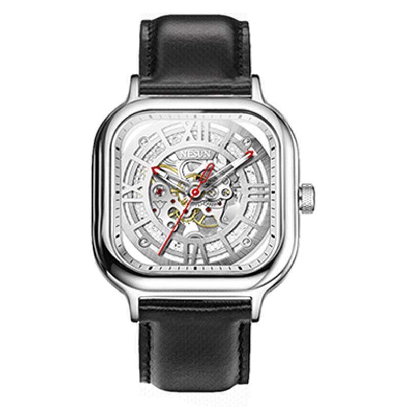 İsviçre erkek Saatler Nesun Otomatik Mekanik İzle Çift İskelet Erkekler Su Geçirmez Saat N9500-1 Saatı