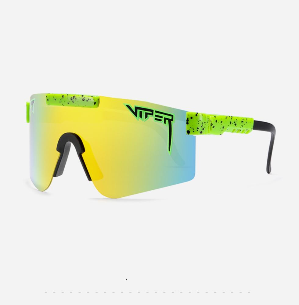 Neue Pit Viper Übergroße winddichte sport polarisierte Sonnenbrille für Männer / Frauen TR90-Rahmen verspiegelte Linse UV400 PV01-C14