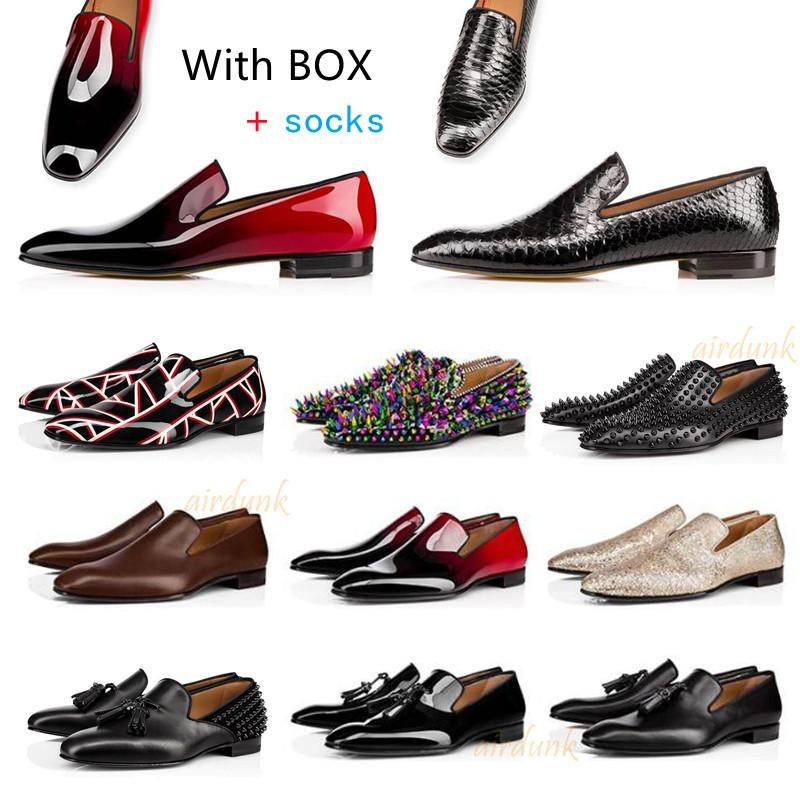 Moda fondos rojos para hombres zapatos de vestir para hombre zapatillas de deporte de las zapatillas de deporte mate patente de cuero de cuero de gamuza de los pies redondos puntas de los temas de los pies de la boda de la boda casual 39-46