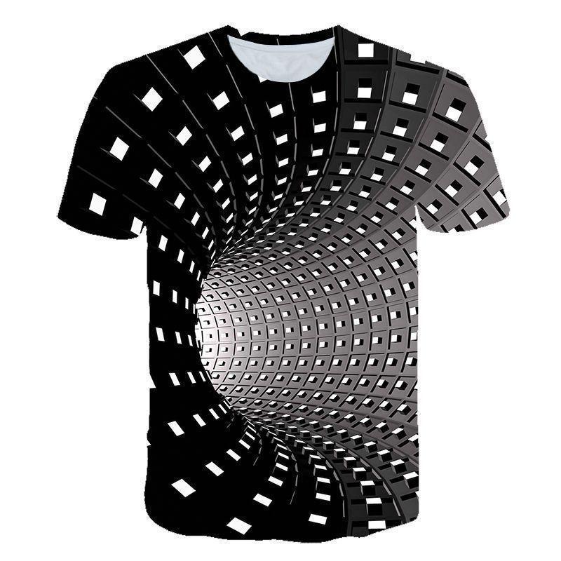 Herren T-shirts Latimeelon Spirale Geometrische Grafiken 3D Bedruckte Männer T-shirts Sommer Tops Männchen Multi Größen Stapel Feste Kurzleuchte