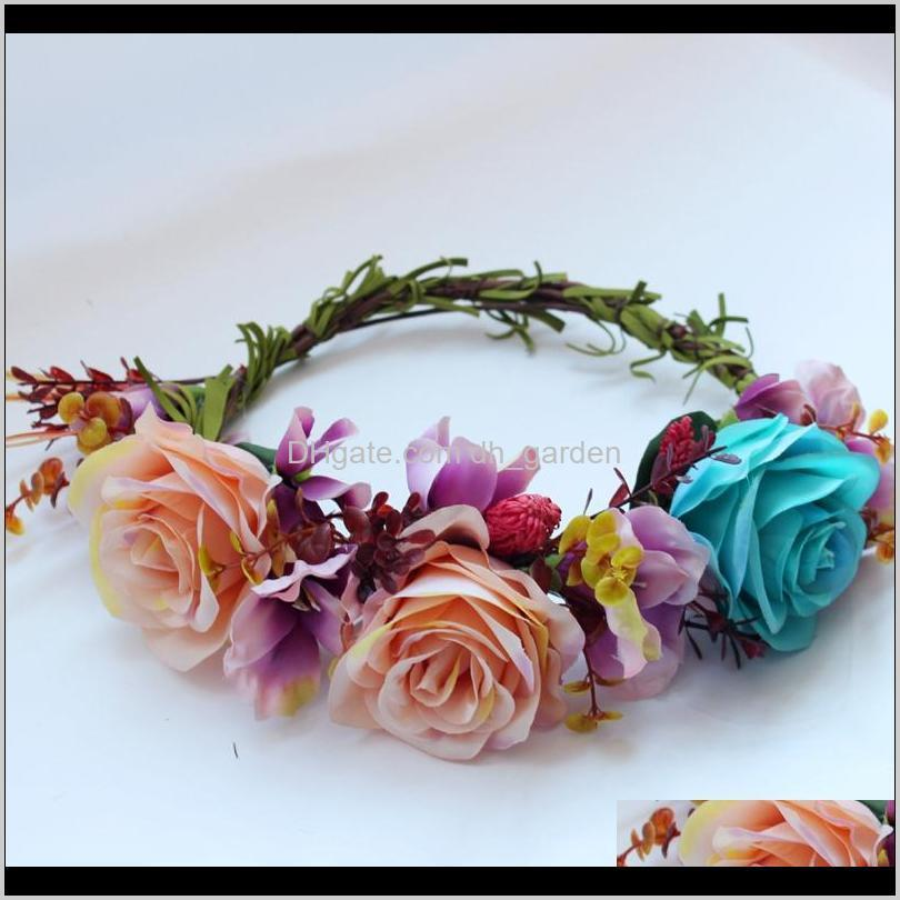 الزهور الزهور اكاليل الزفاف زهرة جارلاند العروس هيرباند اكسسوارات للشعر مهرجان ديكور الأميرة الزهور اكليلا 6HNGM XBX3V