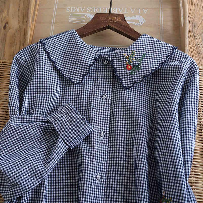 Women's Blouses & Shirts Lamtrip Quality Small Plaid Handmade Floral Embroidery Long Sleeve Cotton 100% Shirt Blouse Mori Girl 202