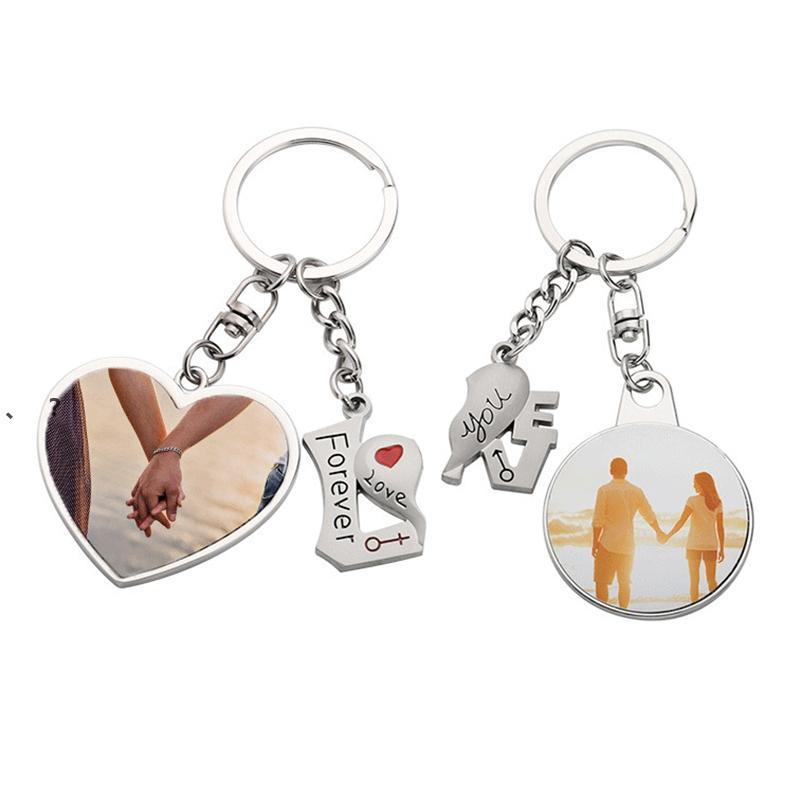 الرومانسية التسامي فارغة زوجين المفاتيح قلادة نقل الحرارة على شكل قلب الحلزل diy عيد الحب هدية هدية حلقة مفتاح NHF7097