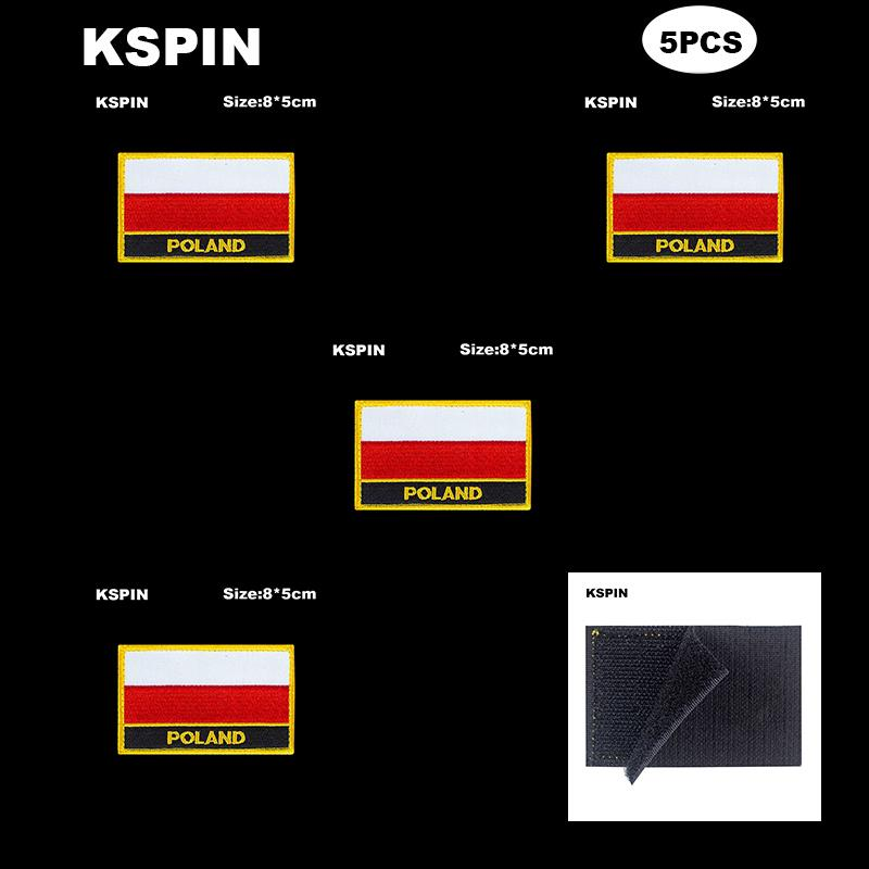 Rectangle National Flag Patch Hook Loop Poland Badges Armband 3D Stick on Jacket Backpack Stickers