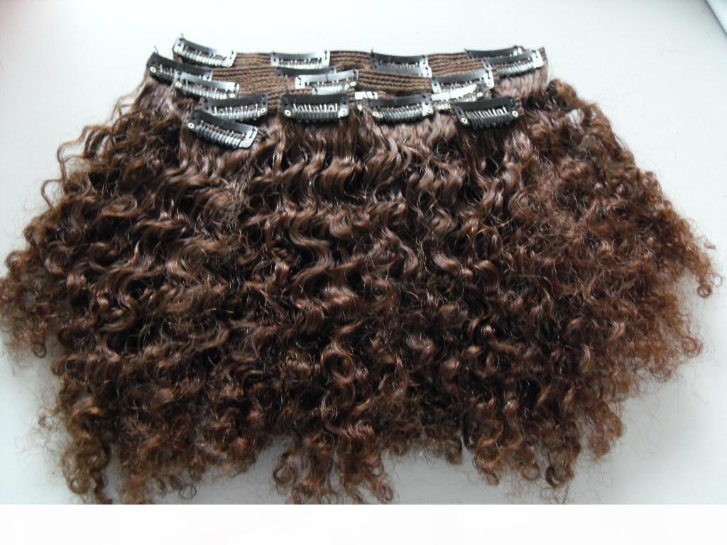 Vierge humaine brésilienne Extensions de cheveux courts 9 morceaux avec 18 clips Clip dans les cheveux Kinky Cheveux bouclés Style de cheveux brun foncé Noir Naturel Couleur