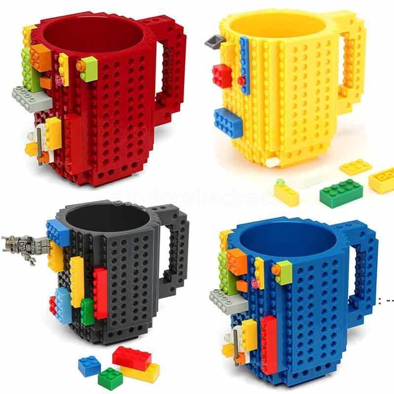 Tasse à café de 12 ooz Tasse de brique Type Bâtiment Blocs de construction Coupe Bricolage Bloc Puzzle Boissons Boire Boire Tumbler BWA8209