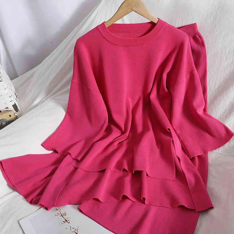 Women's Tracksuits Conjunto fminino 2 pças, top curto frnt trás, blusa corana comprida com calças prnas largas finas soltas primavra MW9Q