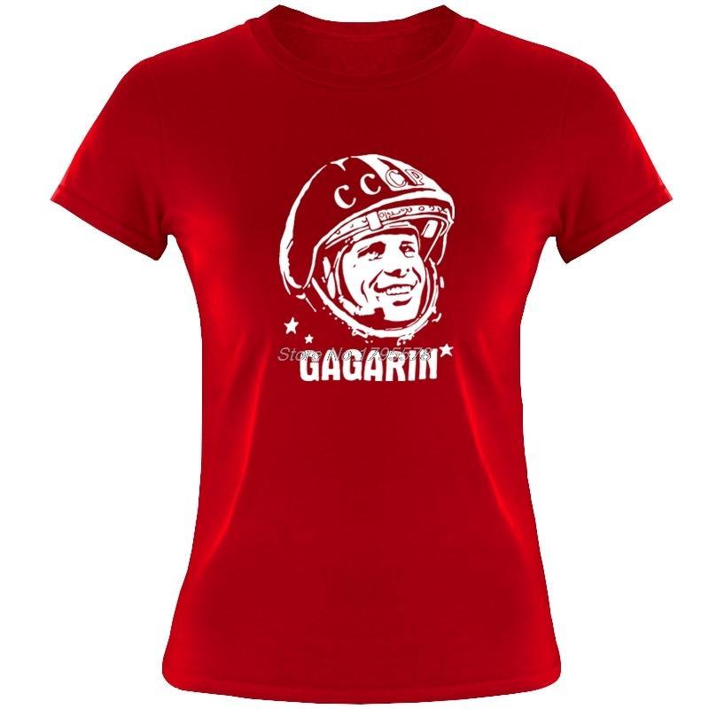 Hipster Yuri Gagarin CCCP T Gömlek Yaz Kadın T-shirt Pamuk Kısa Kollu Rusya Komik T-Shirt Serin Tees Tops C0413