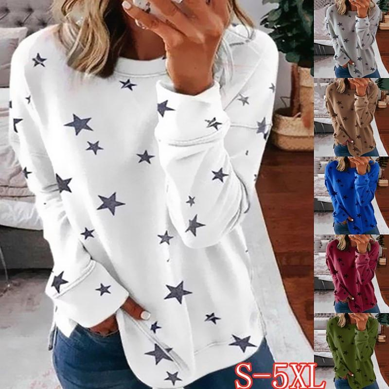 Autumn Long Sleeve T-Shirt Women Pentagram Printed O-Neck White Tee 2021 Casual Top S-5XL Big Size Female Loose T-Shirts Women's