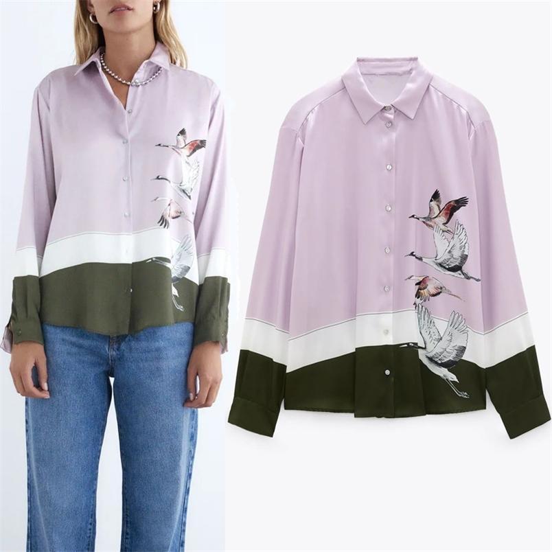 Pulsante stampato rosa con camicia donna autunno vintage stile cinese collegato manica lunga top moda casual signore camicette 210519