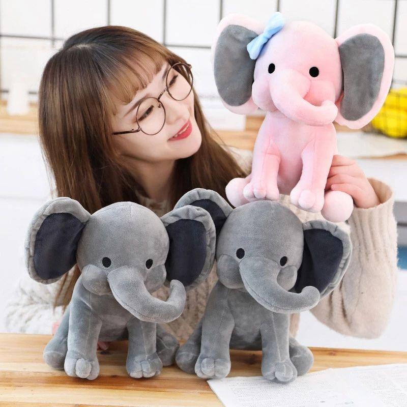Elephant Peluche Toys Baby Room Decorativo Muñecas de peluche para Slepping 25cm Kawaii Animal Niños Niños Plushiies Juguete Rosa Muñeca Gris