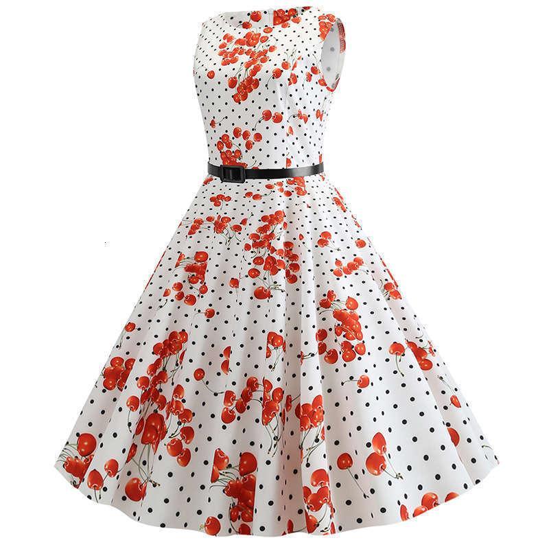 Kleider Hepburn Style Casual Taille Schließung Frauen Shows Thin Print, Big Swing Dress Gürtellieferung