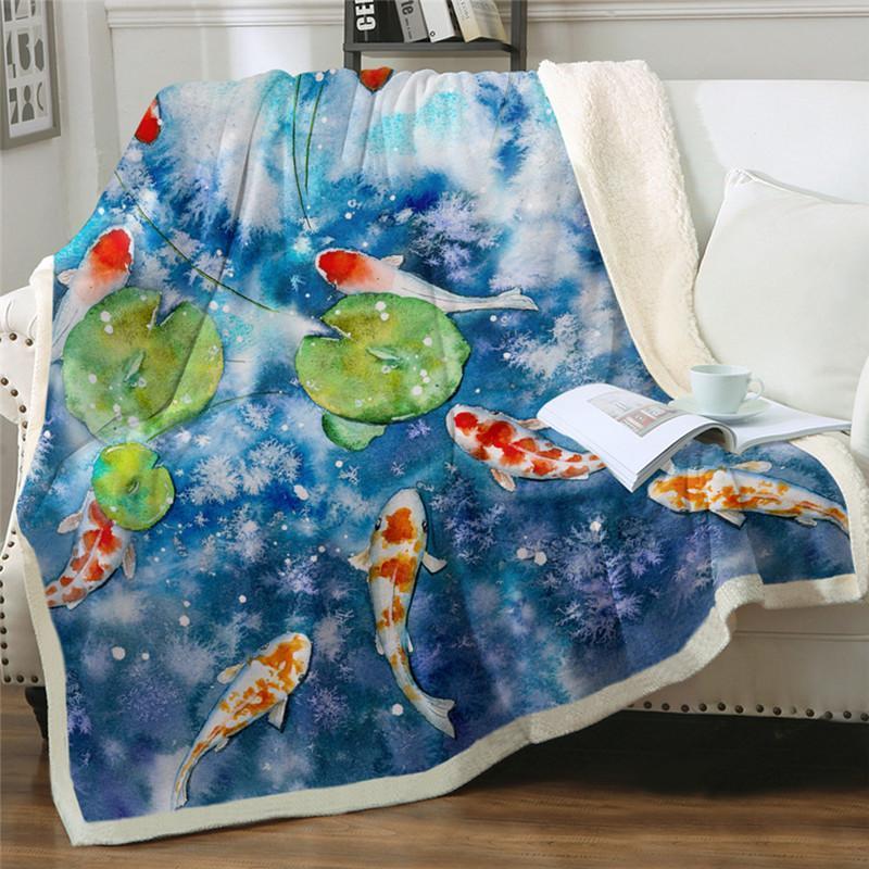 Luojin Carp Coated Lotus Leaf And Plaid Narwhal Custom Blanket Blankets
