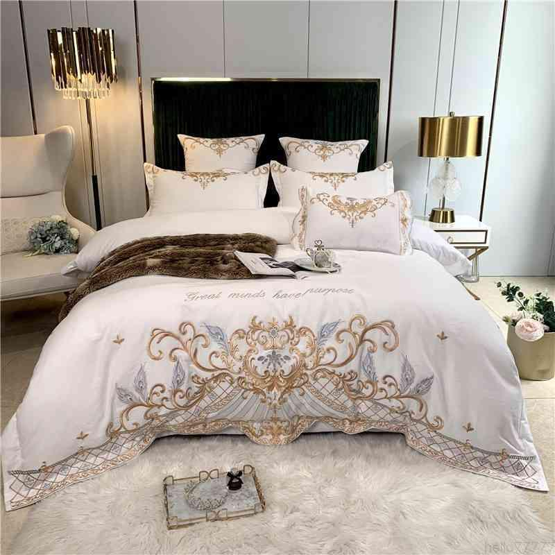 Chic Embroidery 4Pcs Duvet White Soft Brushed Cotton Bedding Set Comforter Cover Bed Sheet Pillowcase Queen King size