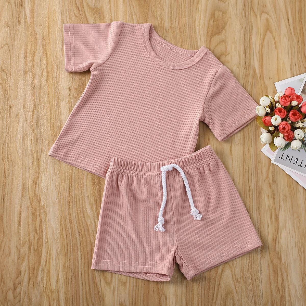 Baby Sommer Baumwolle Leinen Kleidung Sets Säuglings Baby Mädchen Feste Kleidung Set Kurzarm T-Shirt Tops Shorts Bottoms 2 stücke Outfits