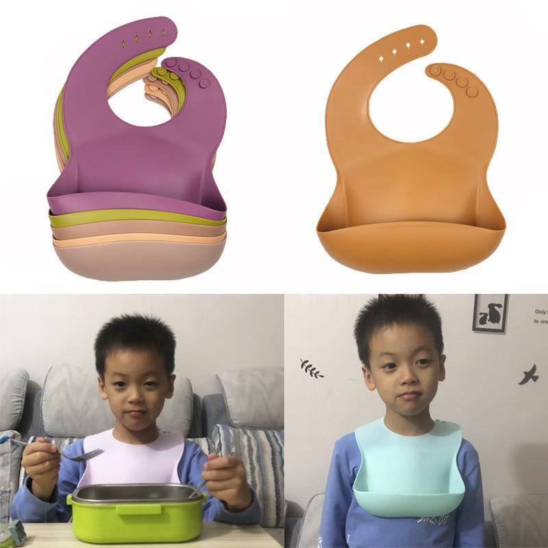 무료 DHL 아기 먹이를 먹는 턱받이 INS 방수 실리콘 점심 17 색 타액 수건 버브 옷