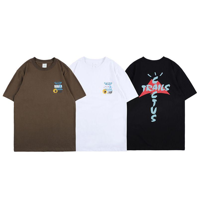Erkek T Gömlek Travis Scott Kaktüs Jack Parkurları Assn Tee Yüksek Sokak Kısa Kollu T-Shirt Top Rahat Moda