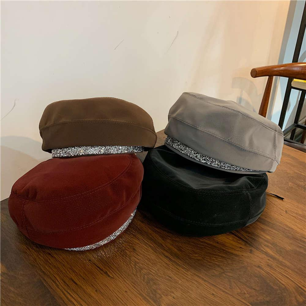 PU in pelle paillettes diamante berretto autunno autunno e inverno versatile versatile in rete rossa net bocciolo britannico pittore cappello moda