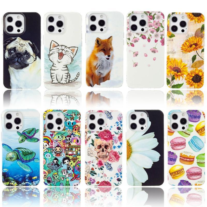 Cas de TPU doux de Skull Sunflower pour iPhone 13 Pro Max 12 11 XR X XS 8 6 IPod Touch 7 5 Fleur Turtle Cat Donuts Donuts dans la couverture arrière de téléphone portable mignon sombre