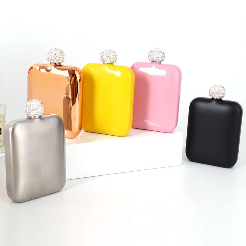 Frasco de quadril de aço inoxidável com ladina de diamante senhoras ao ar livre portátil quadrado flagon mini garrafas de vinho de bolso 5 cores