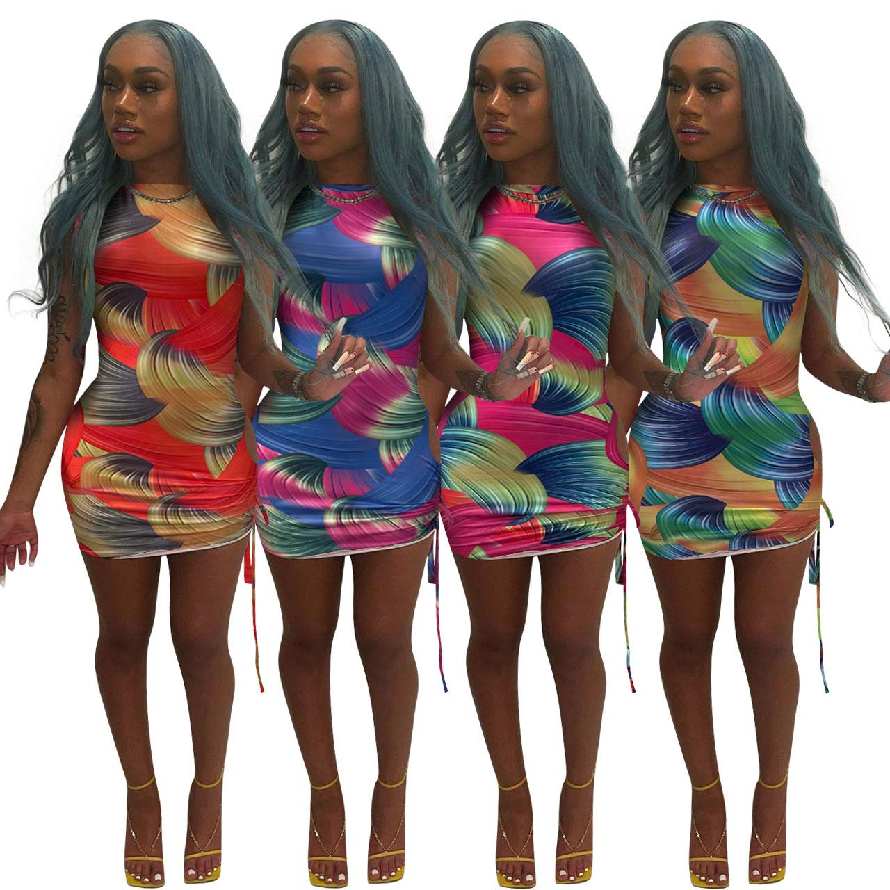Casual Dresses Summer Short Sleeve Crew Neck Printed Ribbon Pleated Dress woman's clothing Plus Size S/M/L/XL/2XL