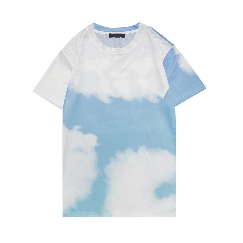 2021 Womens 여름 티셔츠 어항 티 티 남성과 여성의 착용 짧은 소매 통기성 흰색과 파란색 크기 M-XXL